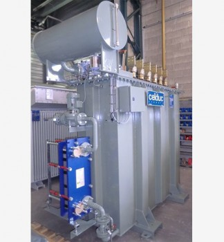 Transformer equipped with double wall plate exchanger